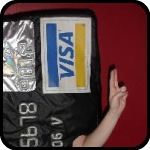Giant Credit Card Making What Might Be Financial Based Gang Signs