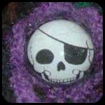 Fuzzy Skull Brooch