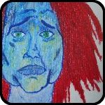 Painting of a Blue Woman With Red Hair