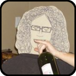A Cardboard Woman Drinking Wine Straight From The Bottle