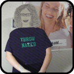 "Cardboard Woman Making Pottery While Wearing A ""Throw Naked"" T-Shirt"