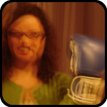 Woman with blue Everlast boxing gloves