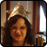 Rosalie wearing the tin foil hat