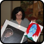 Woman Holding Two Paintings