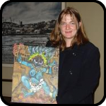 Woman Holding a Painting of Kali