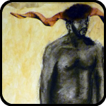 Remixed by Temple Terkildsen. Painting of an Angry Naked Man With Horns